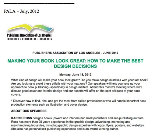 PALA Panel discussion about book design with Karrie Ross