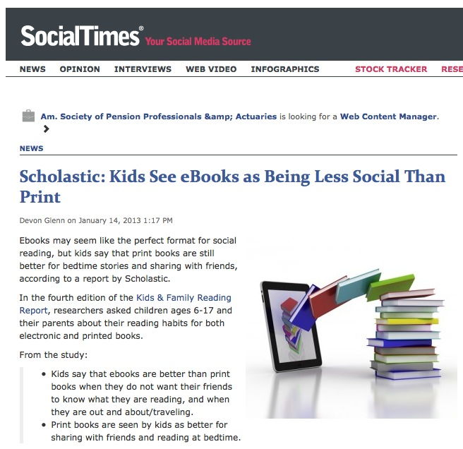 Social Times reports on Scholastic report about bedtime stories and physical books